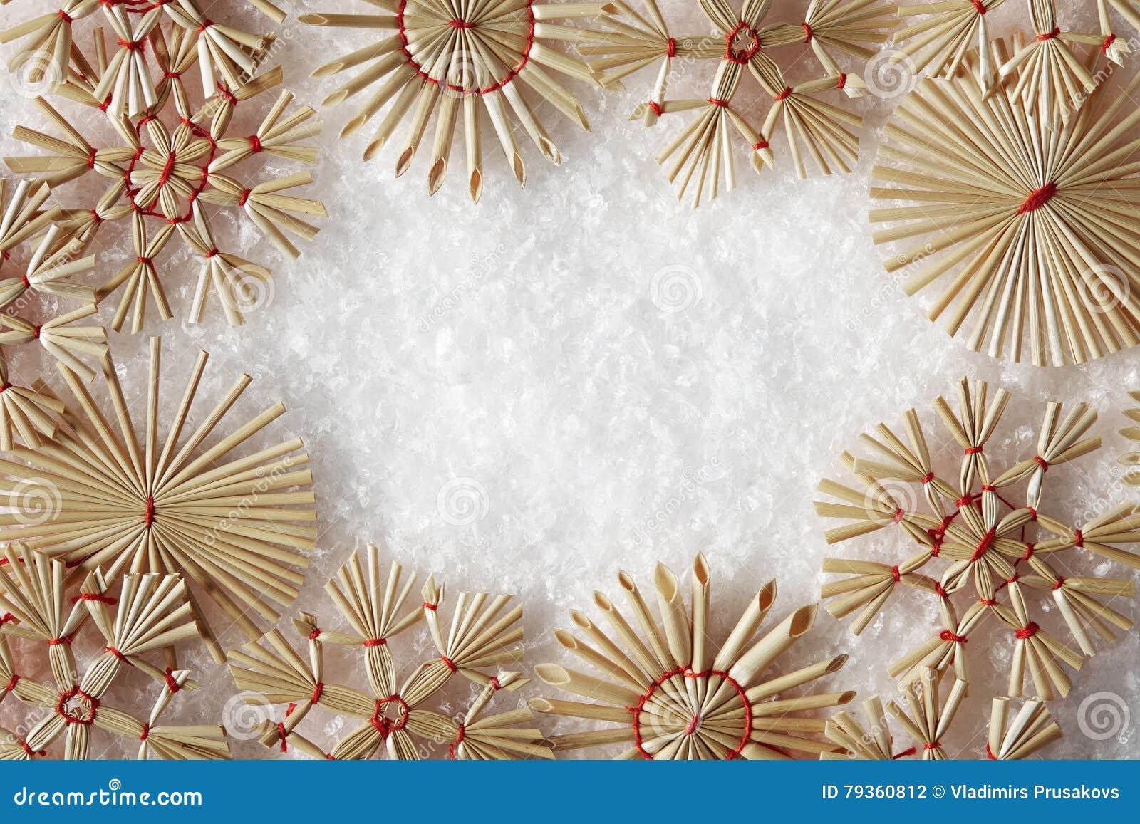 Snöflingor inramar, Straw Snow Flakes Christmas Decoration
