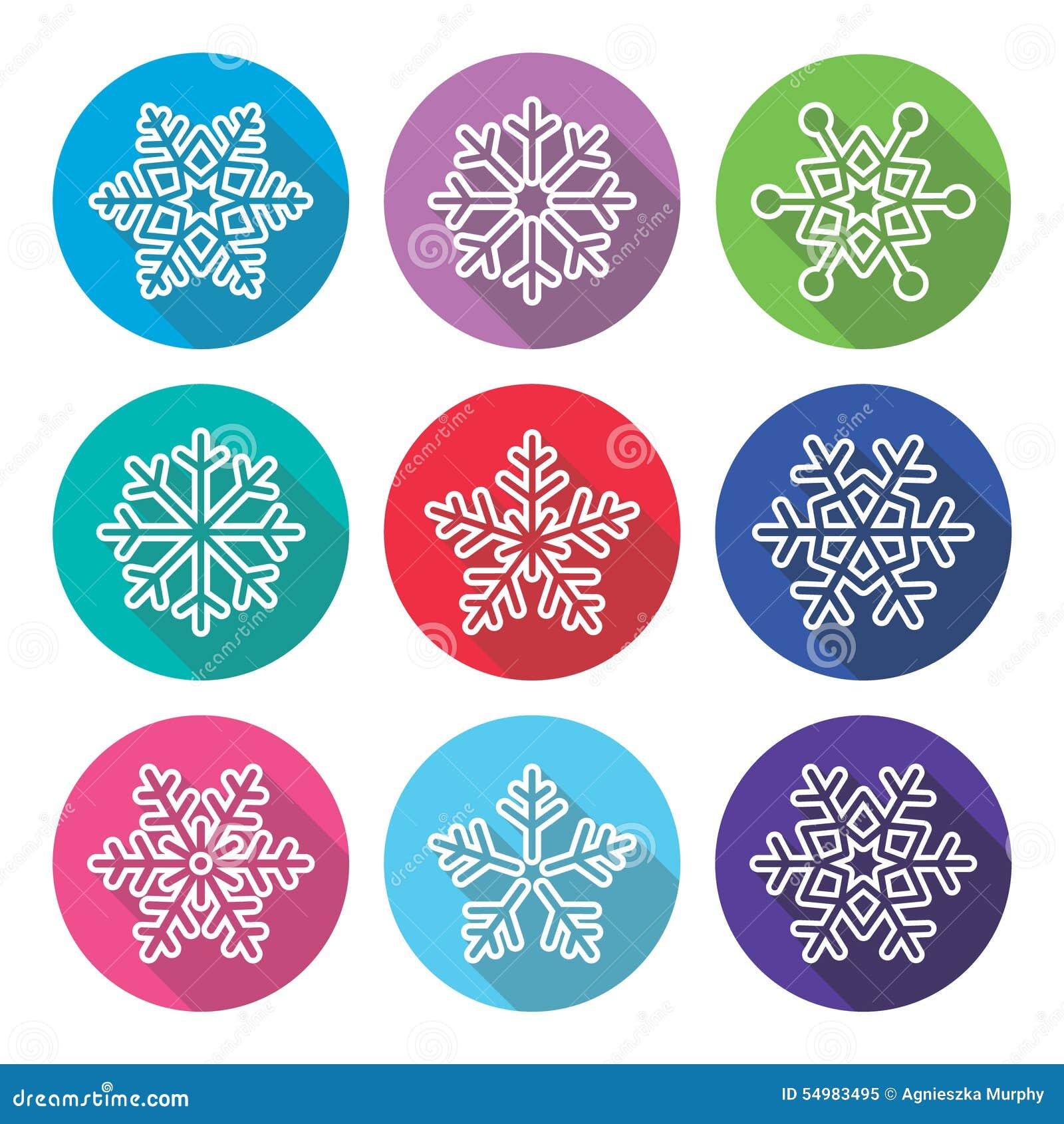 Snöflingor vinterlägenhetdesign, långa skuggasymboler ställde in