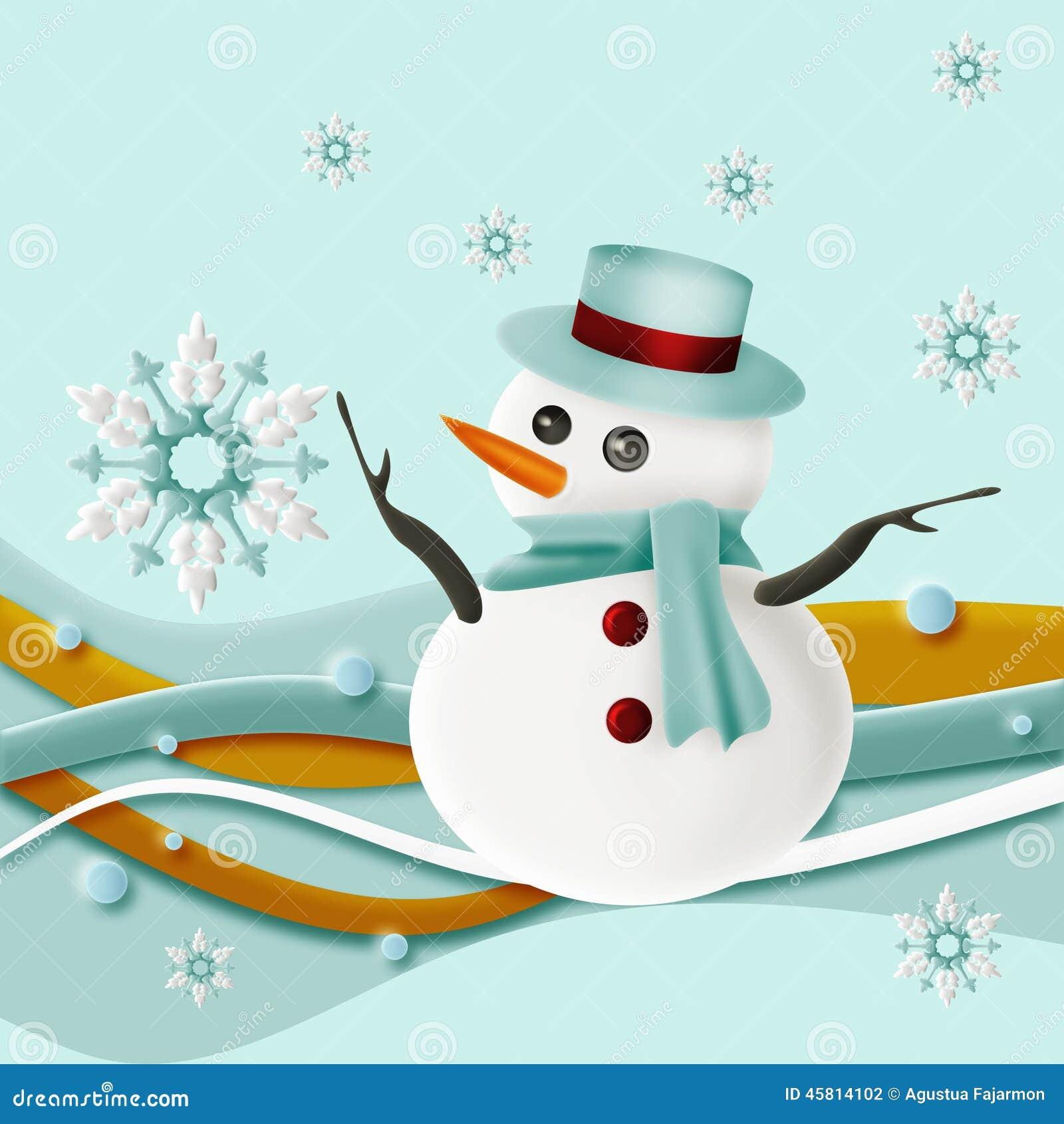 Snögubbe och snöflingor med virvel