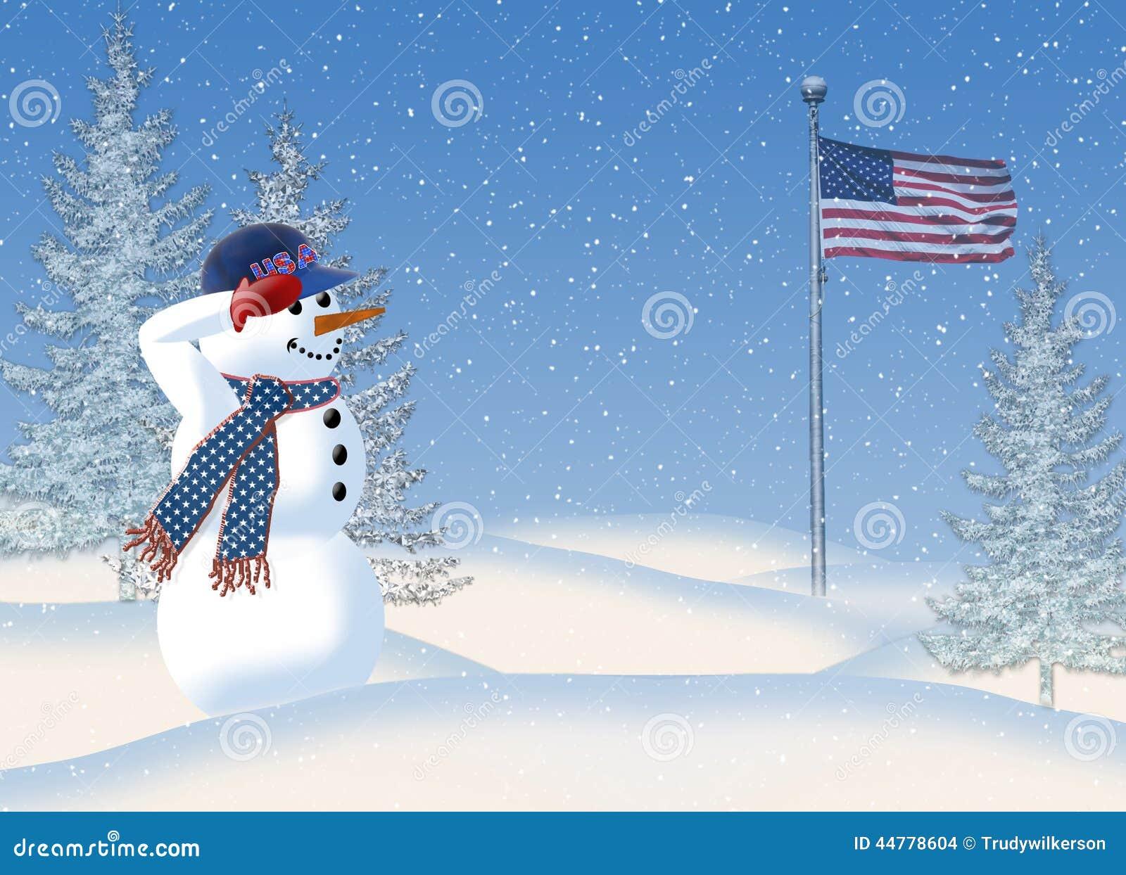 Snögubbe som saluterar amerikanska flaggan