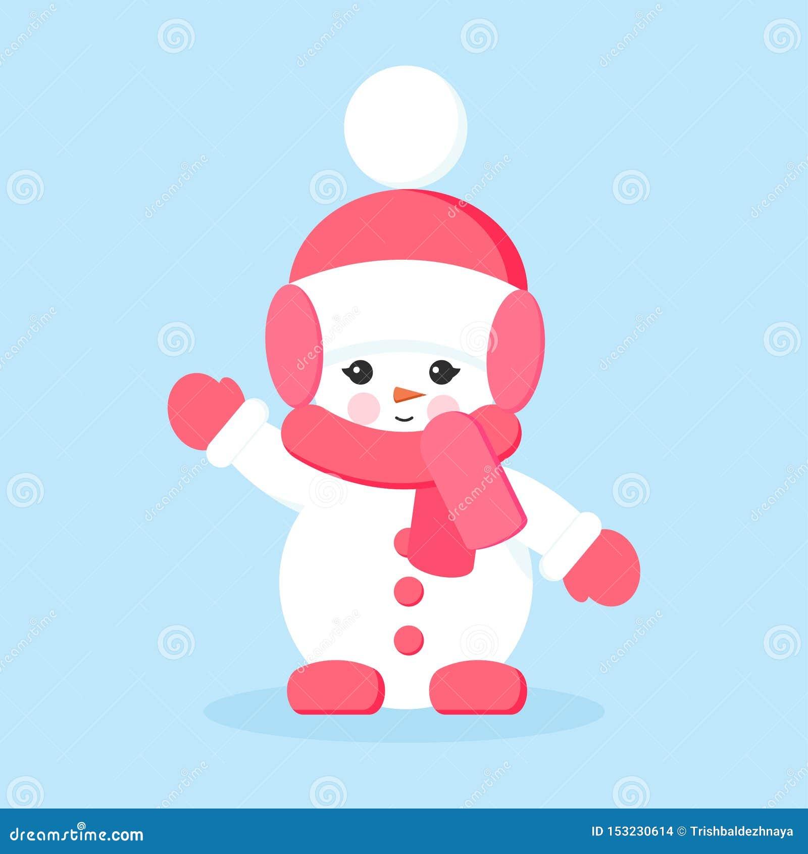 Snögubbeflickan med rosa kläder i hälsningar eller hi poserar