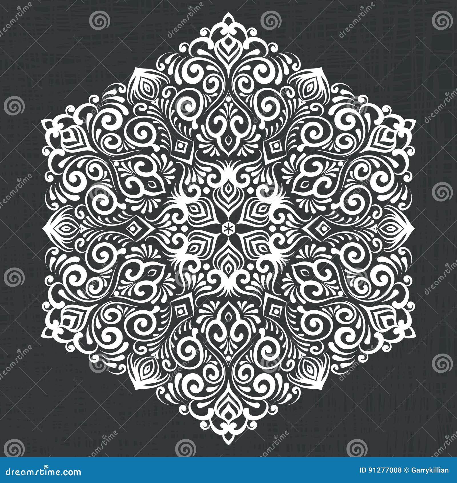 Snör åt den dekorativa rundan för vektorn med damast- och arabesquebeståndsdelar Mehndi stil Orient traditionell prydnad