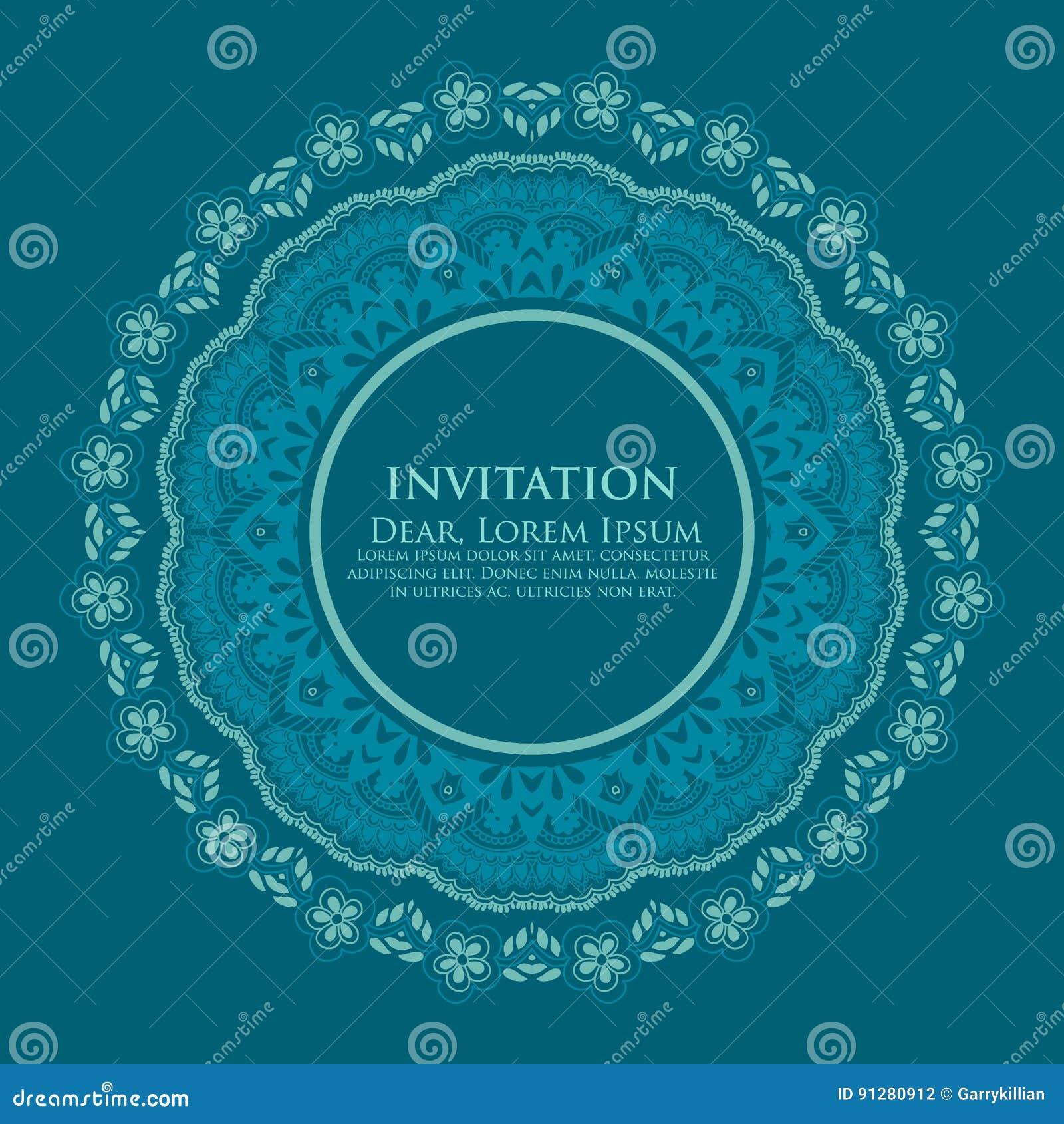 Snör åt den dekorativa rundan för vektorn med damast- och arabesquebeståndsdelar Mehndi stil Orient traditionell prydnad Zentangl