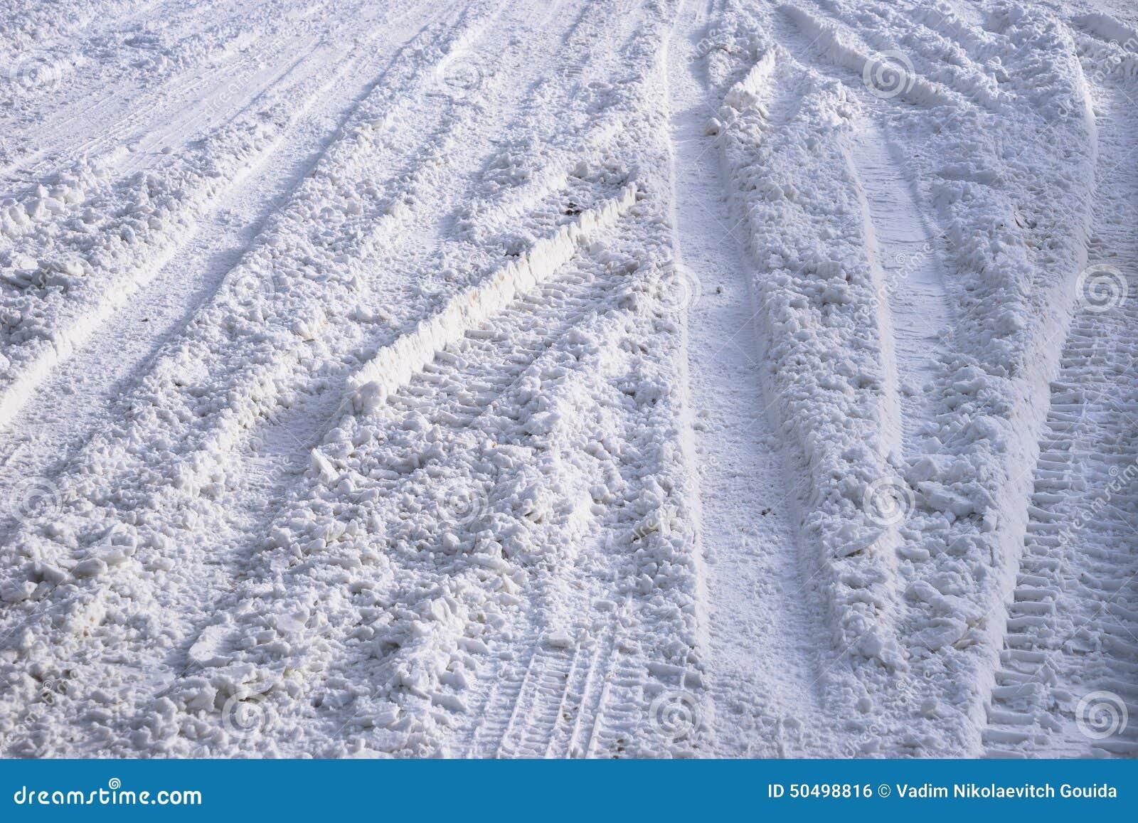 Abstrakt Bakgrund Snöspår På Vägen Arkivfoto Bild av