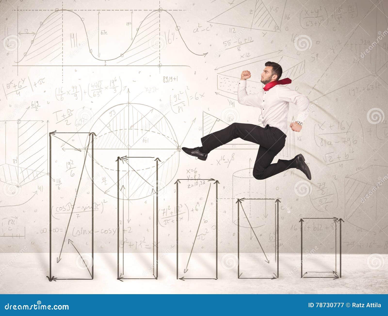 Snabb affärsman som förestående hoppar upp drog diagram