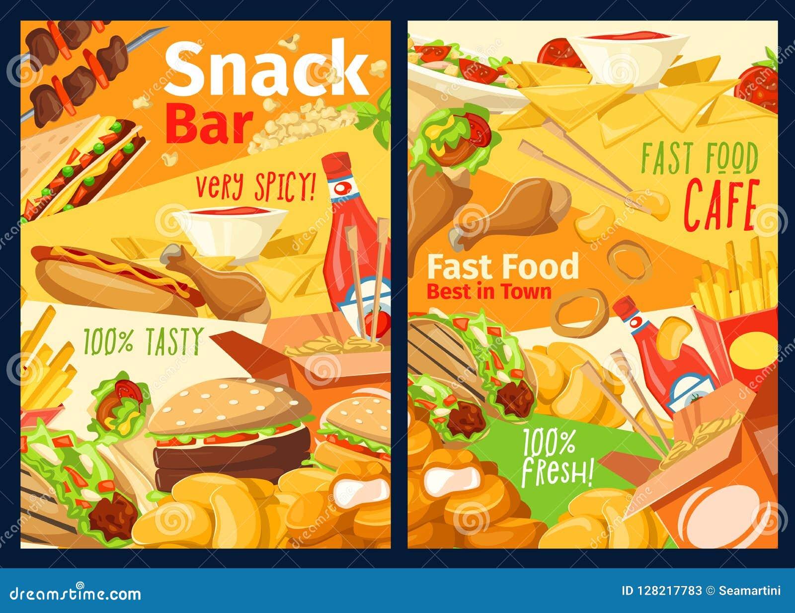 Snabbmatmellanmål-, smörgås- och hamburgaremeny