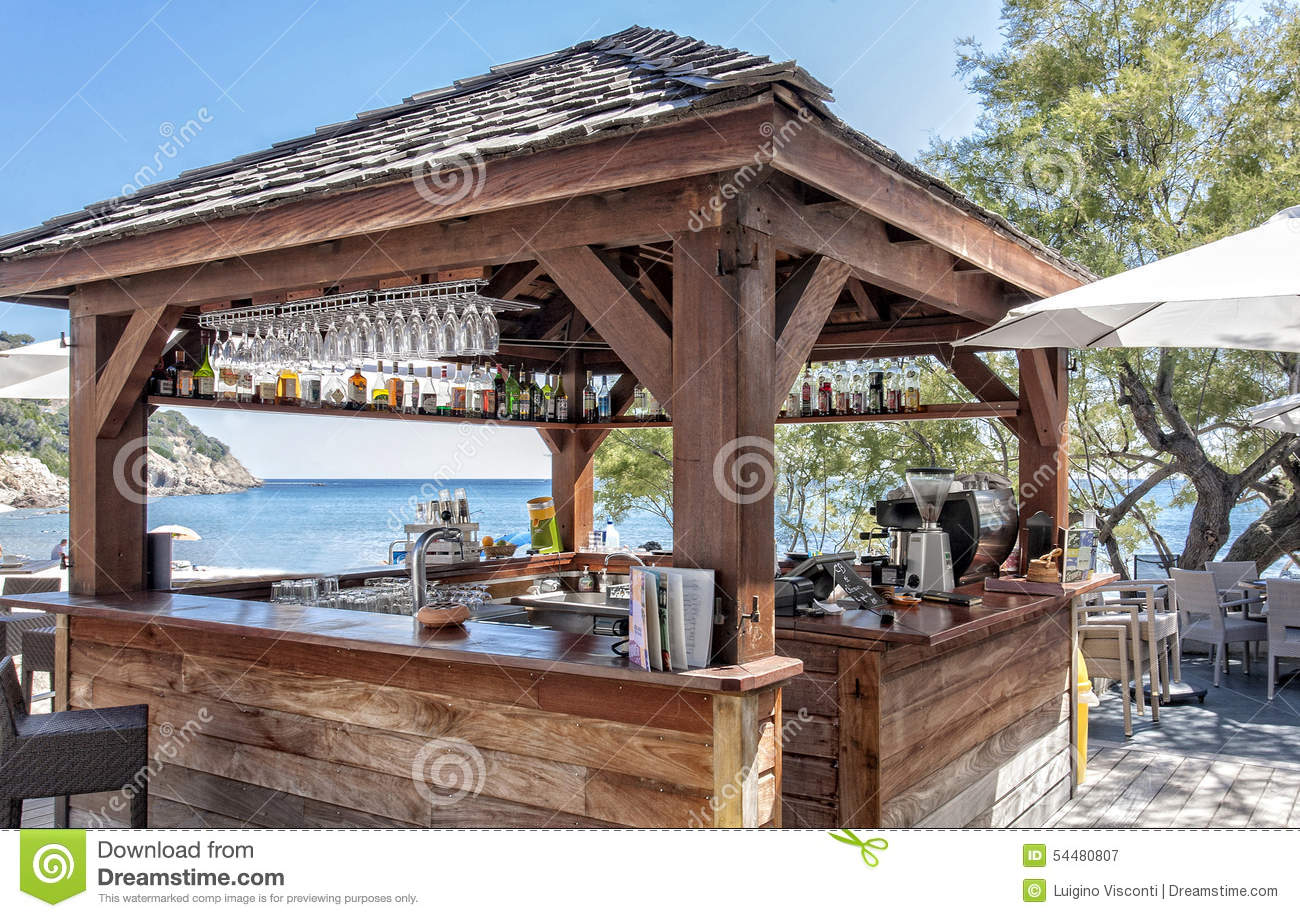 Snack bar on the beach editorial photography image 54480807 for Beach bar ideas