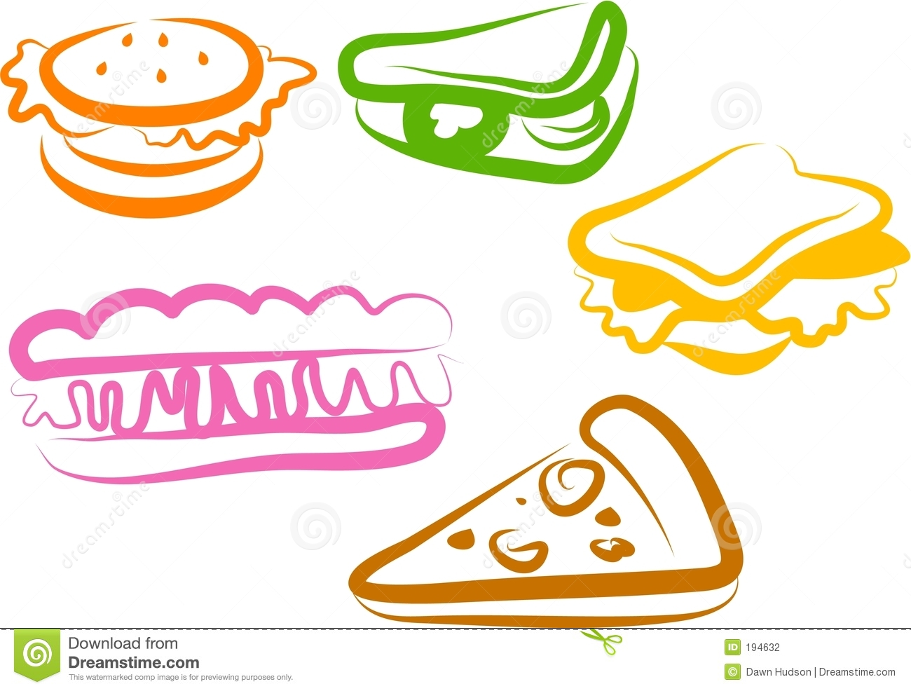 Snack Icons Stock Photography - Image: 194632