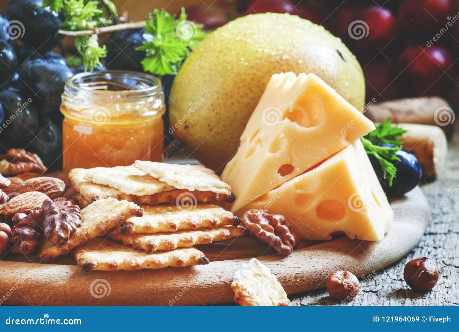 Snack plate:, walnuts, cheese food still life