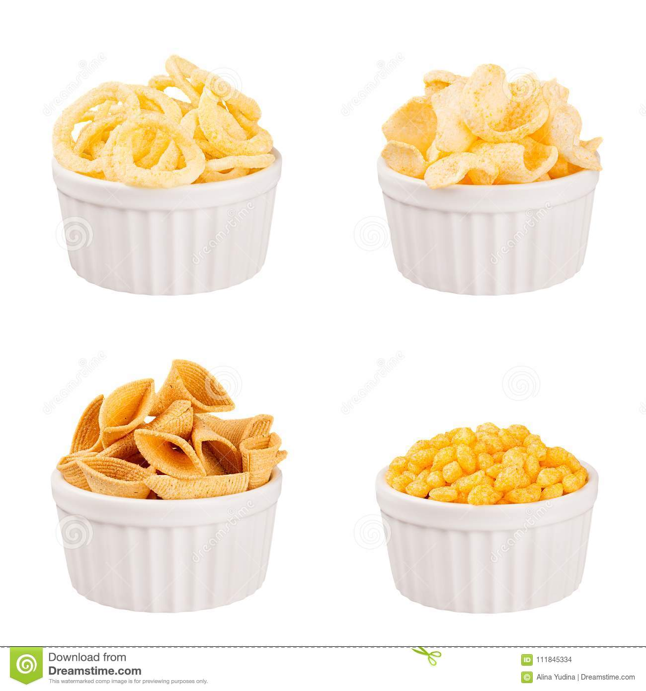 Snacks collection - crunchy different corn sticks in white ceramics bowls, isolated. Fast food template for menu, advertising, cov