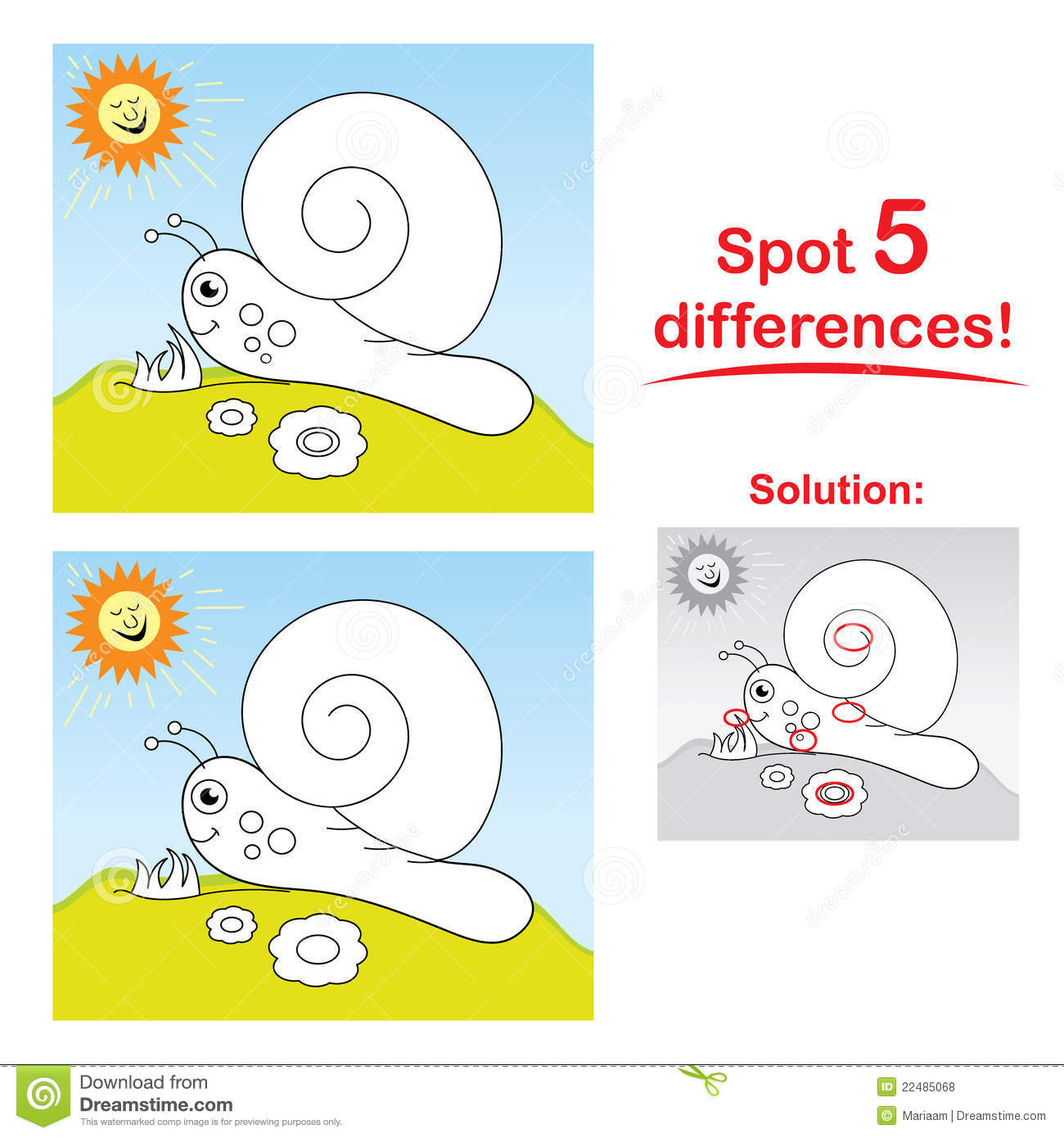 Concentration game for children: Spot 5 differences between the two ...