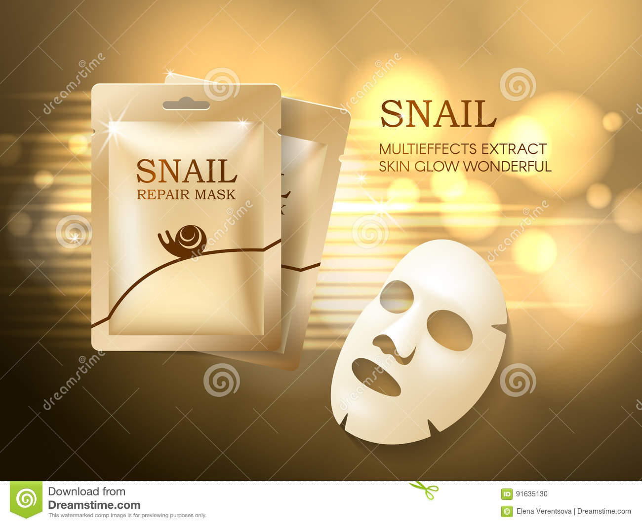 Snail Cosmetic Ads Template  Face Mask And Golden Sachet