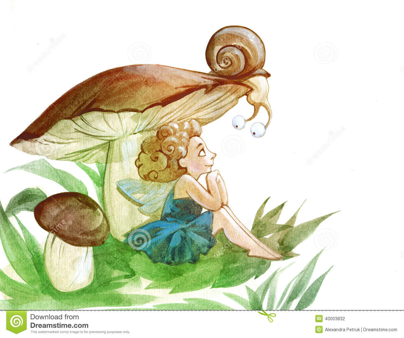 A snail and a fairy stock illustration image of green for Fairy on a mushroom drawing