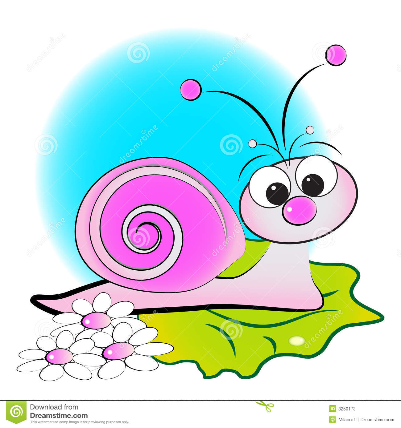 Stock Photos Snail Flowers Green Leaf Kid Illustration Image8250173 on funny cartoon animals labels vector