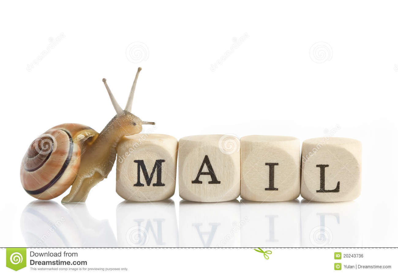 Snail Mail - a little snail is climbing on the blocks mail for Letter ...
