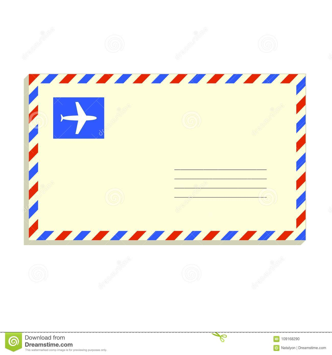 snail mail letter in the envelope on white, flat vector illustration