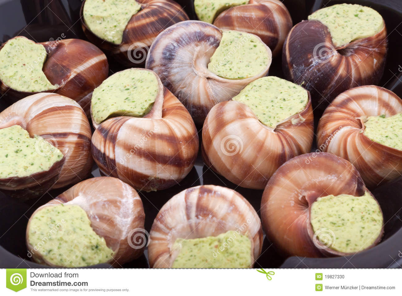 Snails with herb butter as background.