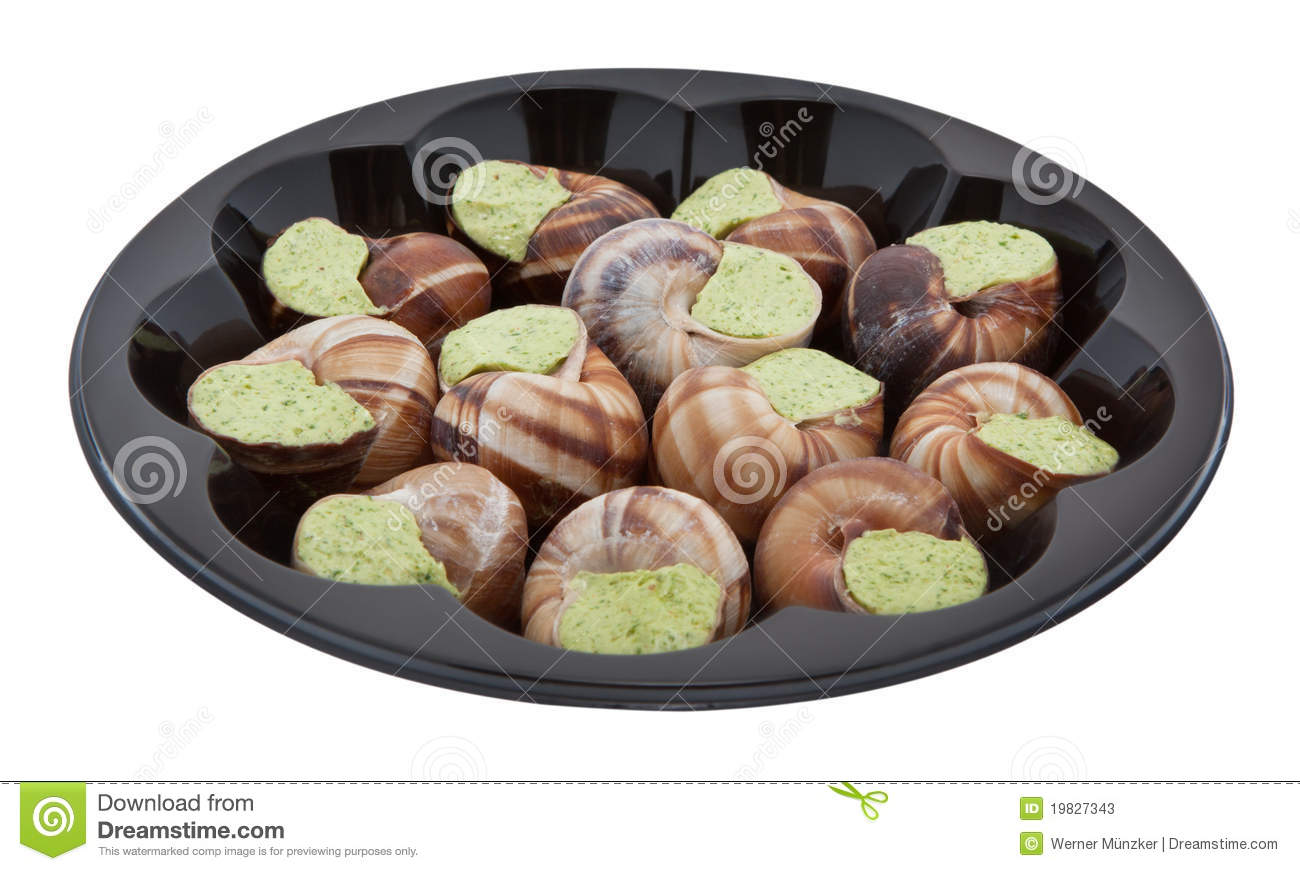 Snails With Herb Butter And Clipping Path Stock Photos ...