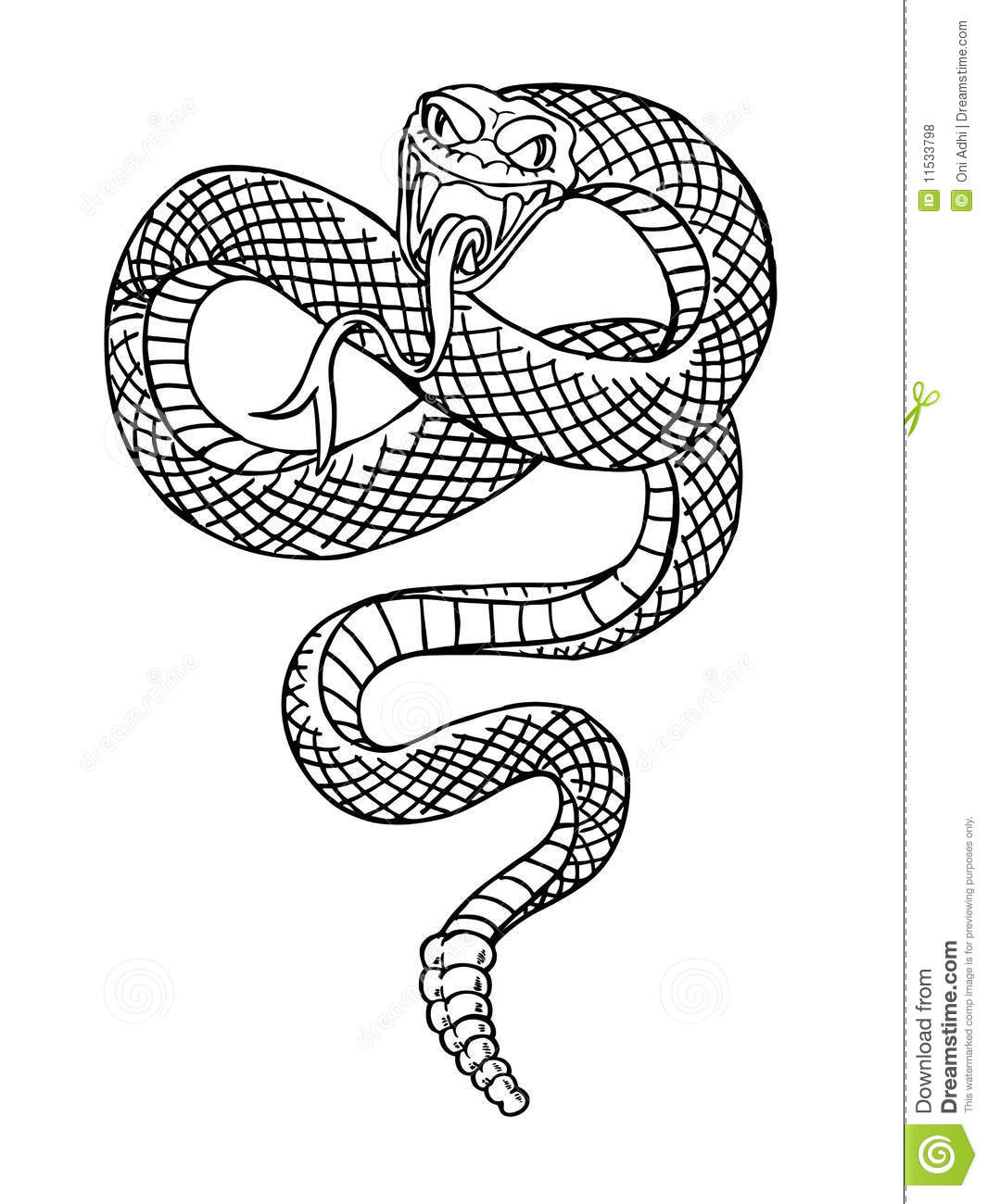 Evil Serpent Drawing snake royalty free stock photos - image: 11533798