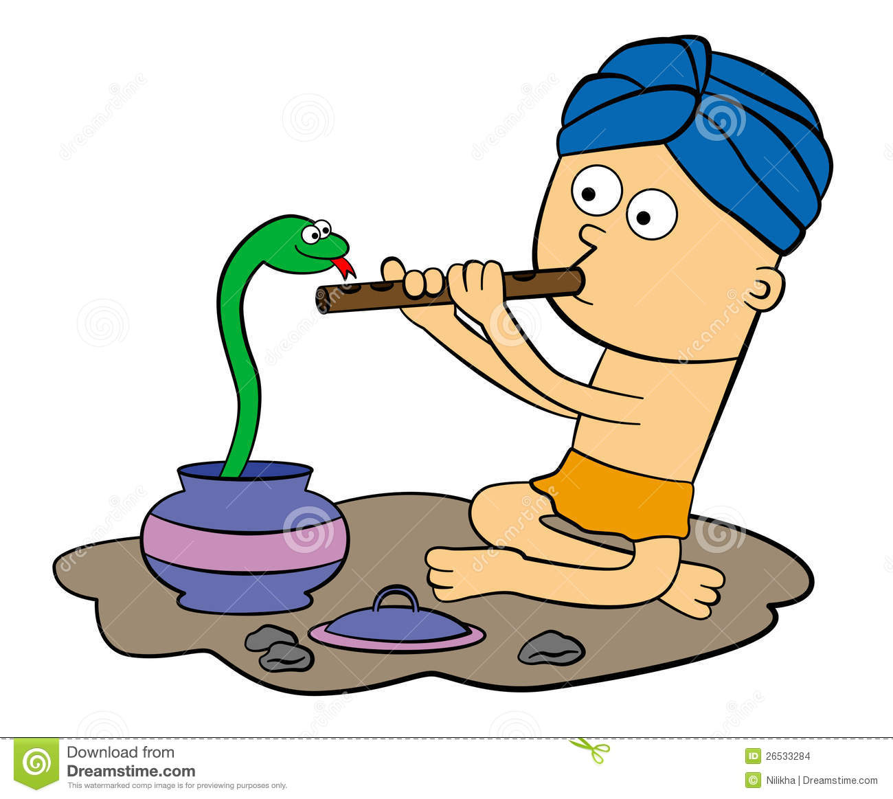 ... wearing a turban trying to control a snake by playing a flute Indian Flute Clipart