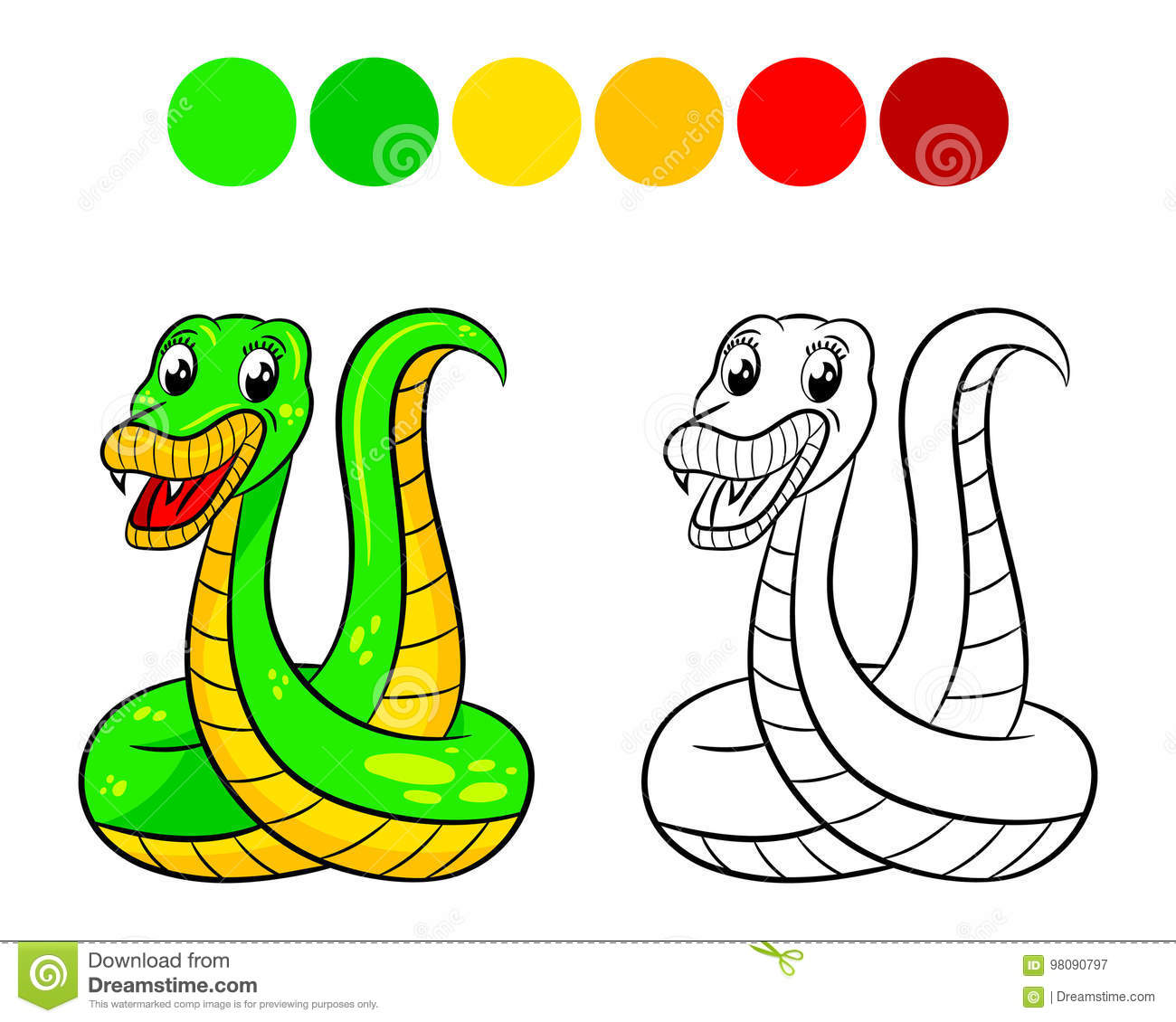 Snake coloring book. stock vector. Illustration of emotions - 98090797