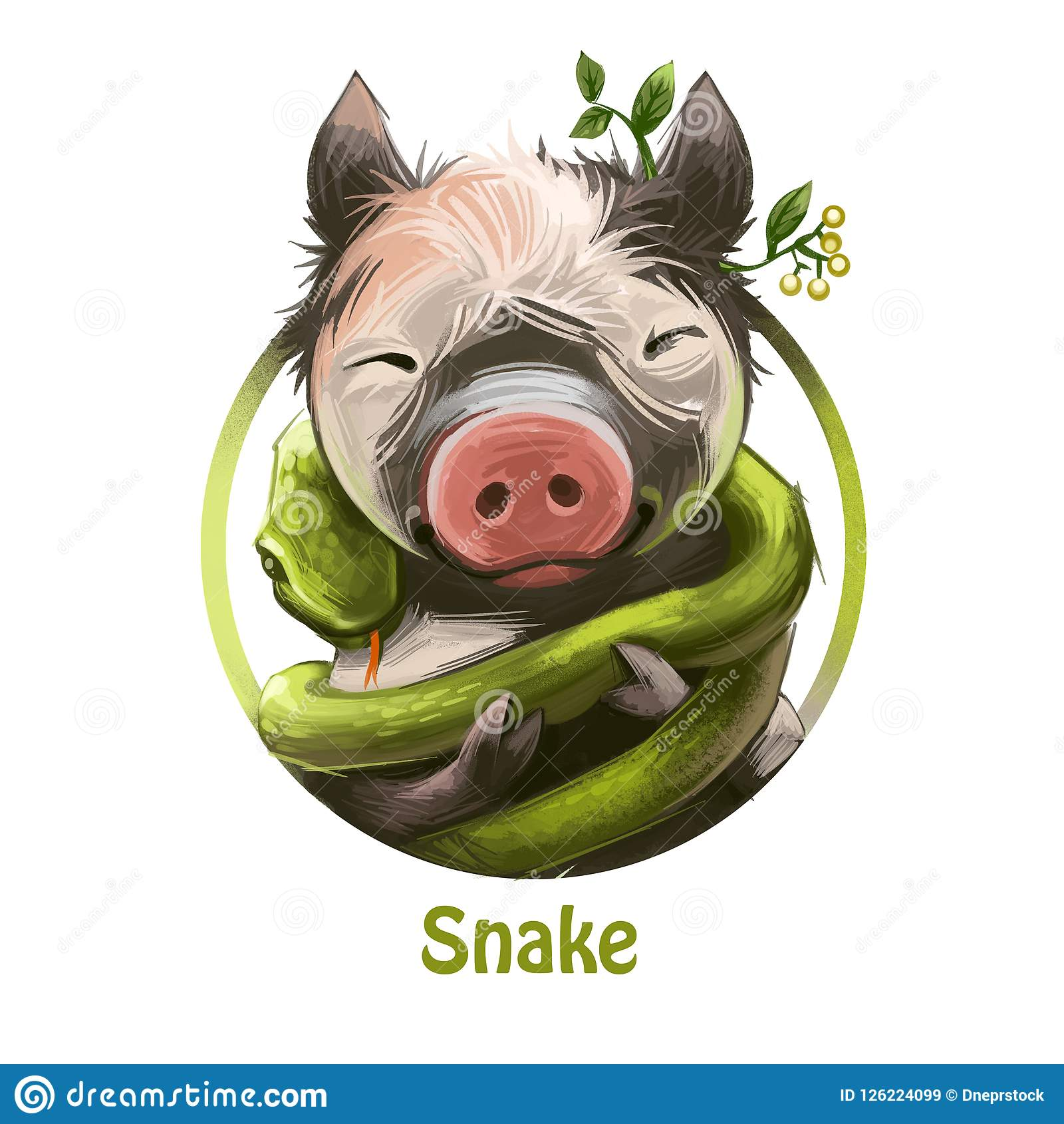 Snake Curling Around Smiling Piglet With Plant And Leaves By