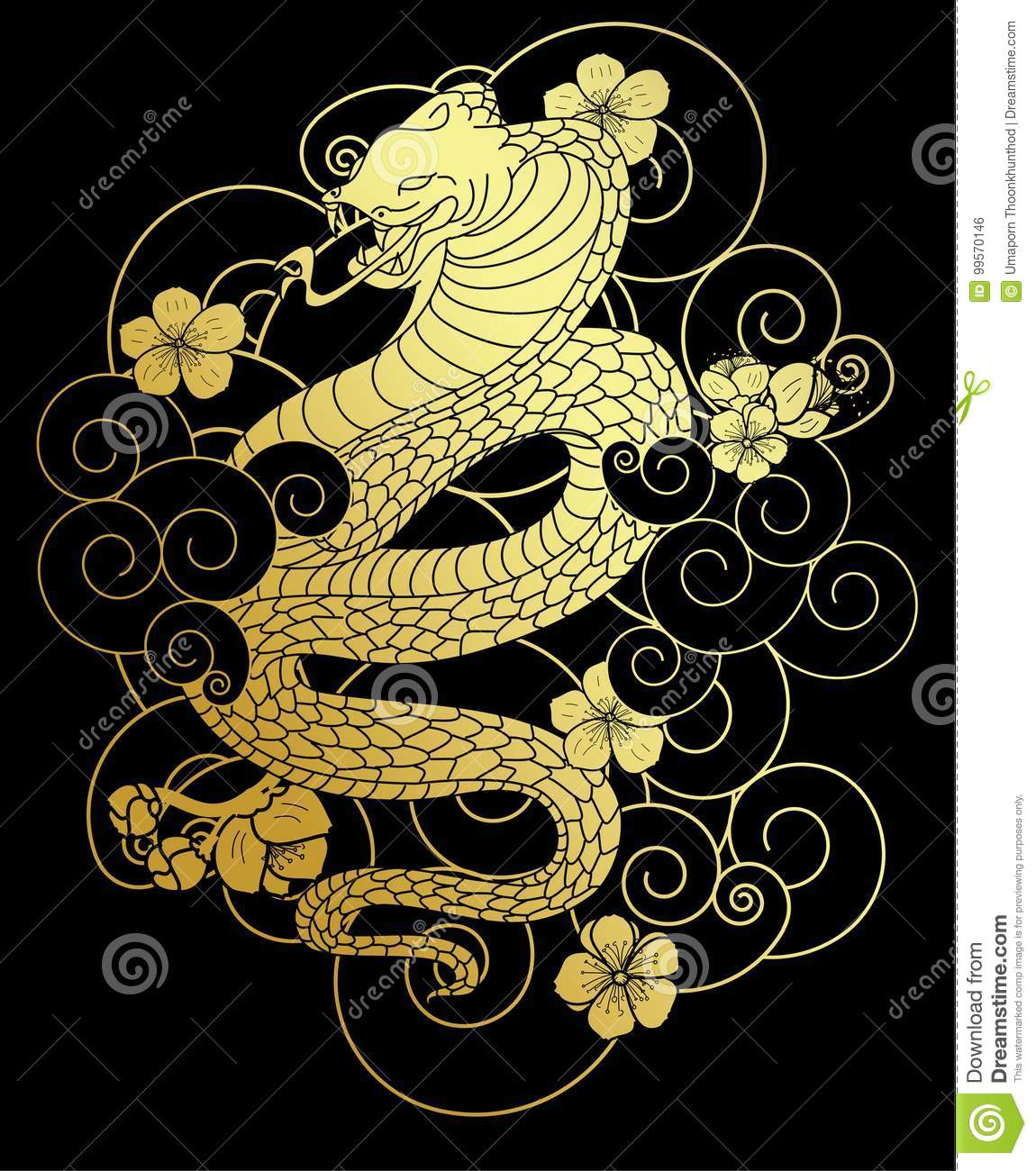 Snake With Flower And Japanese Cloud Tattoo Design Vector