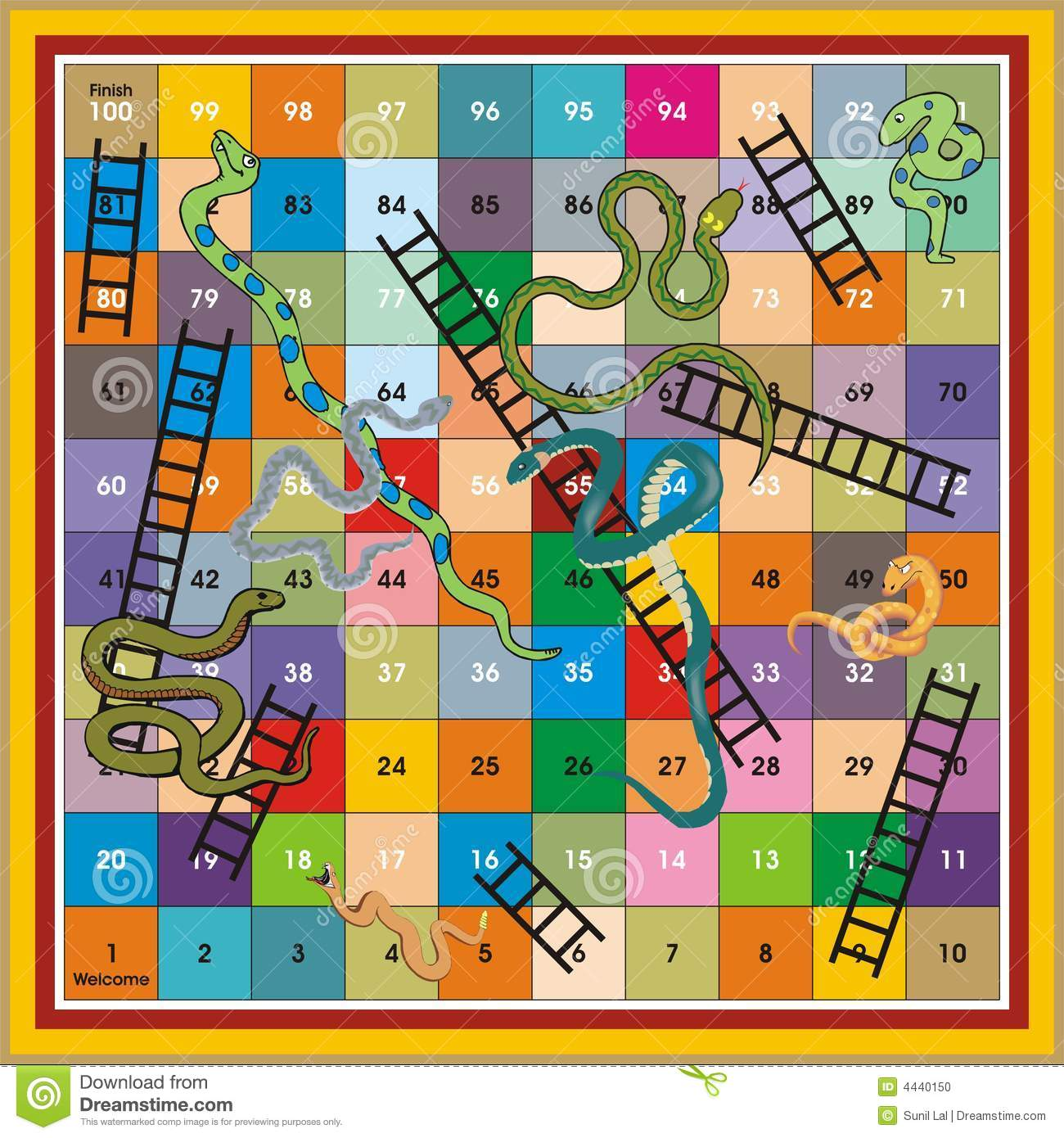 picture regarding Snakes and Ladders Printable titled Snake Ladder Ludo-Print Enjoy Inventory Instance