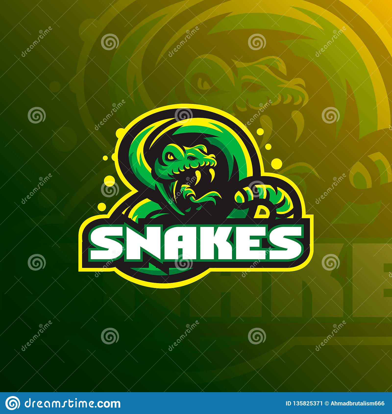 Snake mascot logo design vector with a modern color concept and badge emblem style for sports team. Snake illustration tshirt prin
