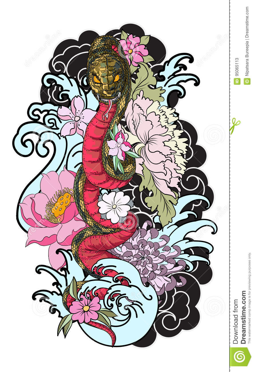 The Snake With Ocean And Flower Tattoo Stock Vector Illustration