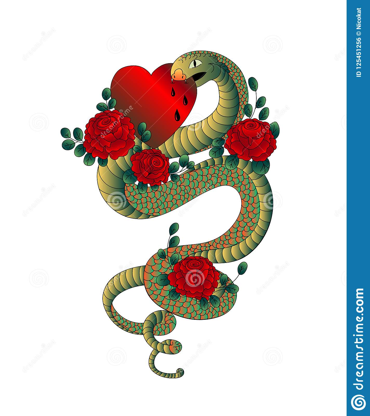 Snake With Roses Bites Heart Old School Tattoo Design