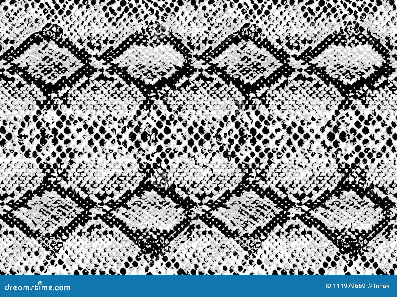 Snake skin pattern texture repeating seamless monochrome black & white. Vector