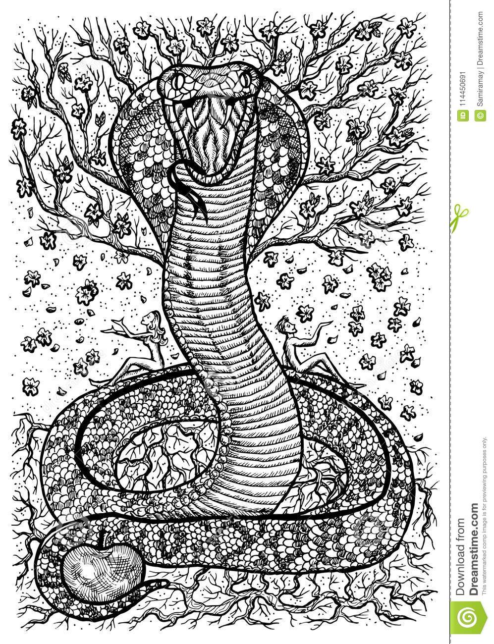 Snake Symbol With Eve Adam Tree Of Knowledge And Flowers Stock
