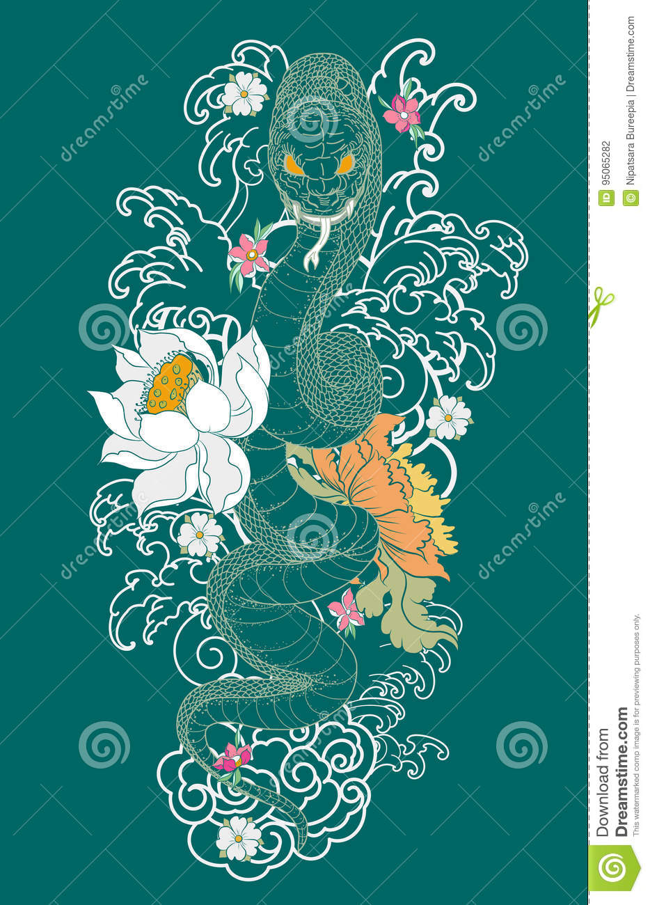 Snake Tattoo With Sakura And Peony Flower Stock Illustration