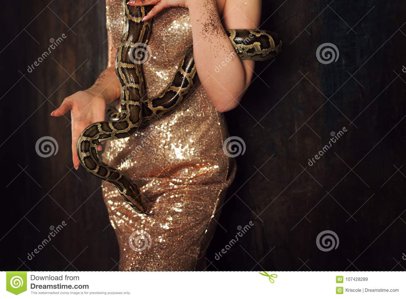 Snake Wraps Around The Hips Woman In A Gold Dress And