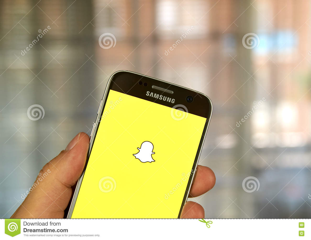 Snapchat app on Samsung S7 editorial stock photo  Image of