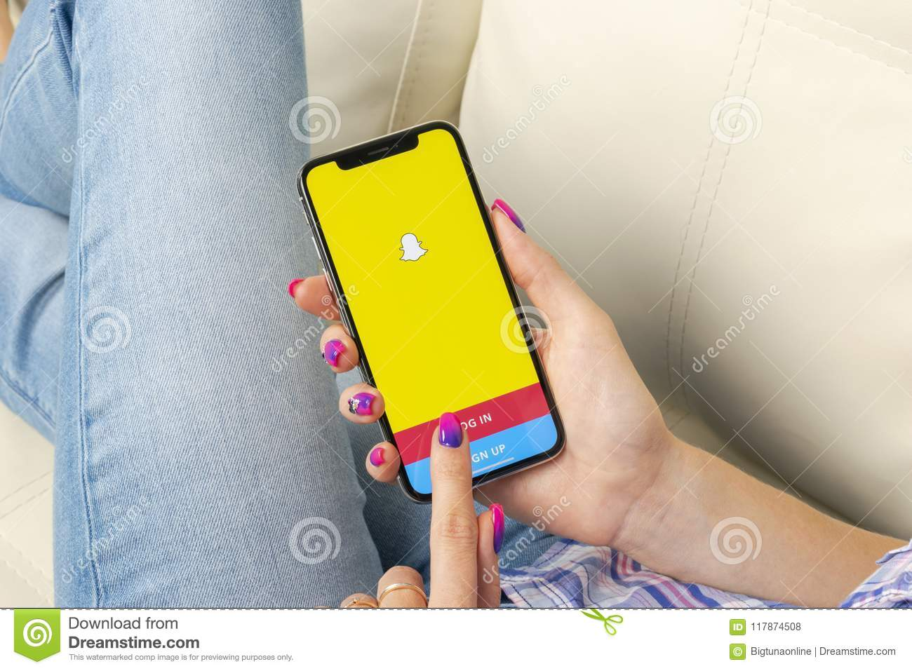 Snapchat Application Icon On Apple IPhone X Smartphone Screen Close