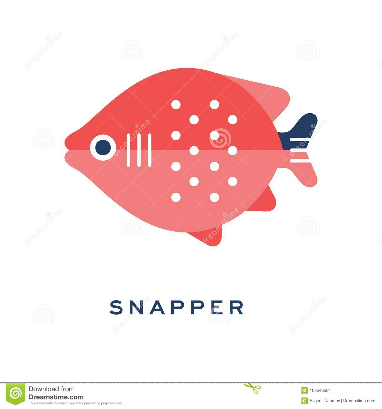 Snapper, Freshwater Fish Geometric Flat Style Design Vector ...
