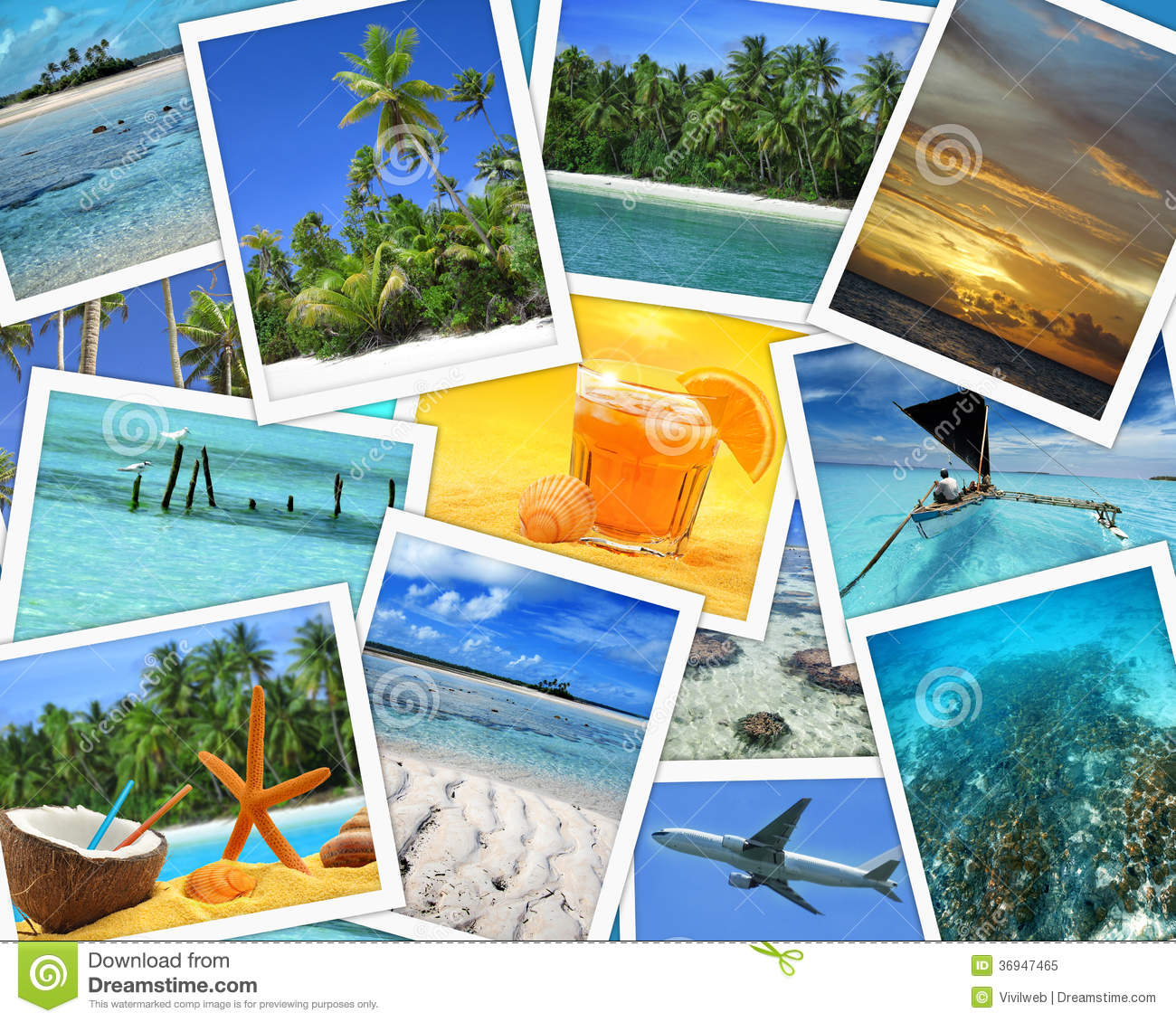 Collage of snapshots of tropical travel destinations.