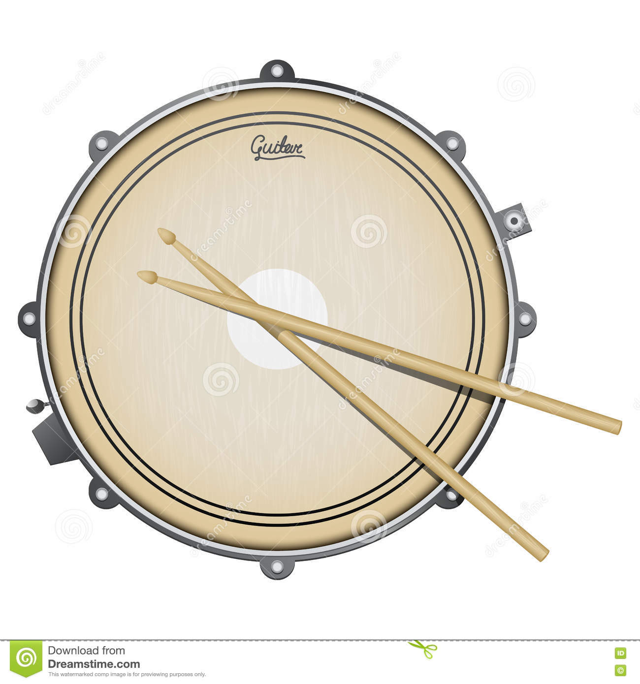 Snare Drum Realistic Illustration With Percussion Instrument Isolated On White Sticks
