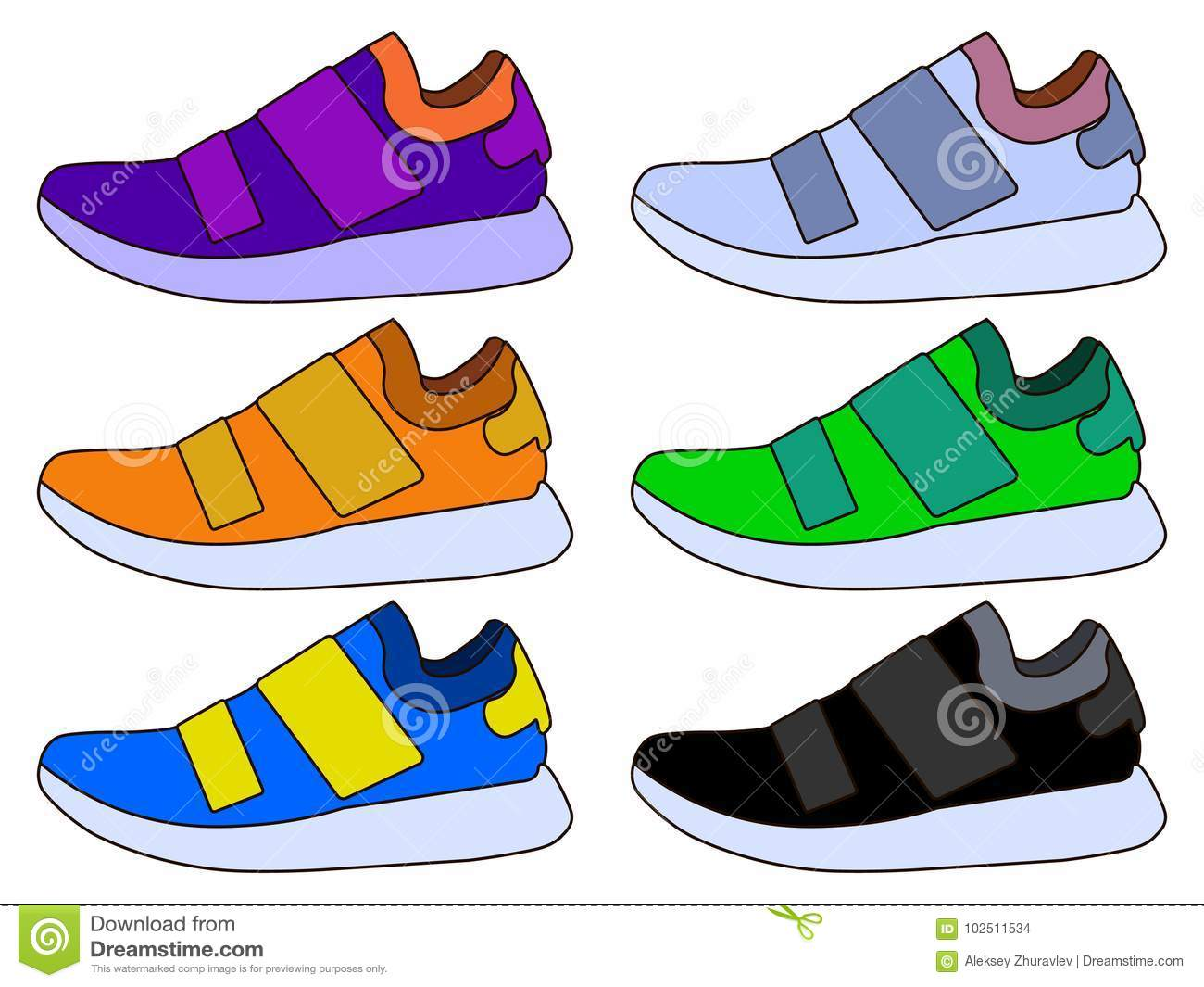 Sneaker Sport Shoe Color Flat Icon Symbol Set Collection Stock