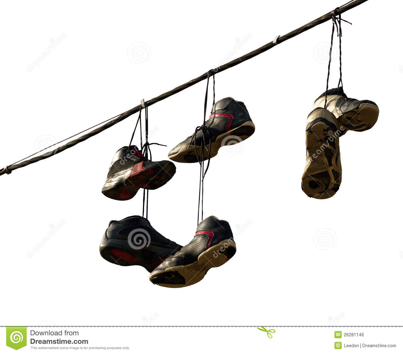 Sneakers hanging on a telephone line royalty free stock for Hang photos from wire