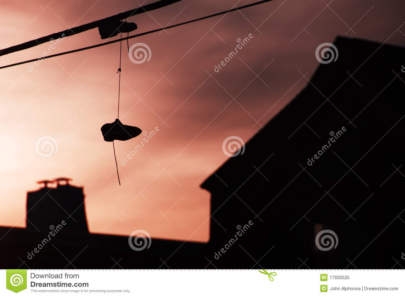 Sneakers hanging from wire royalty free stock photo for Hang photos from wire
