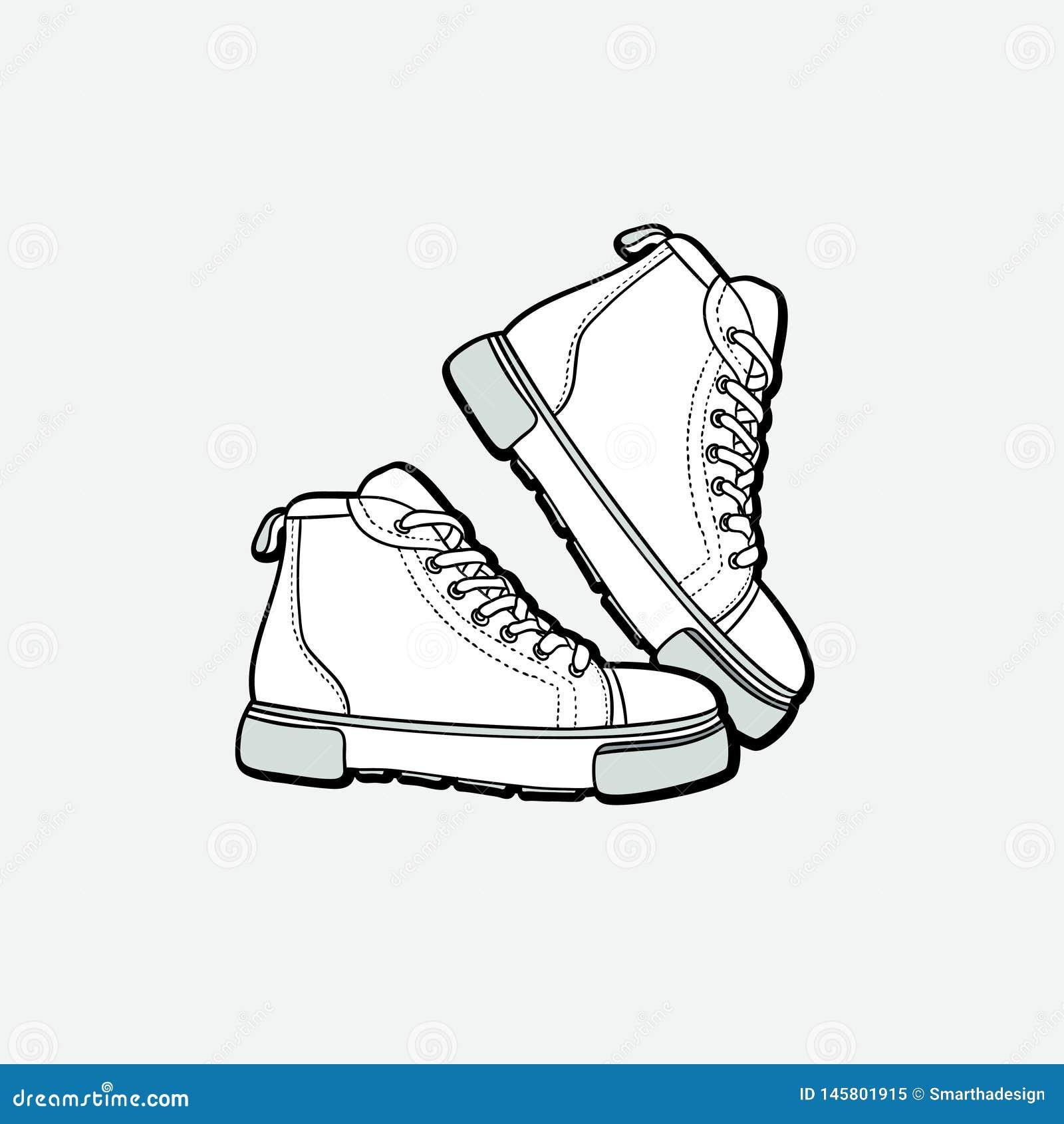 Sneakers but?w para odizolowywaj?ca R?ka rysuj?cy wektorowi ilustracyjni czarny i bia?y buty Sport?w buty wr?czaj? patroszonego d