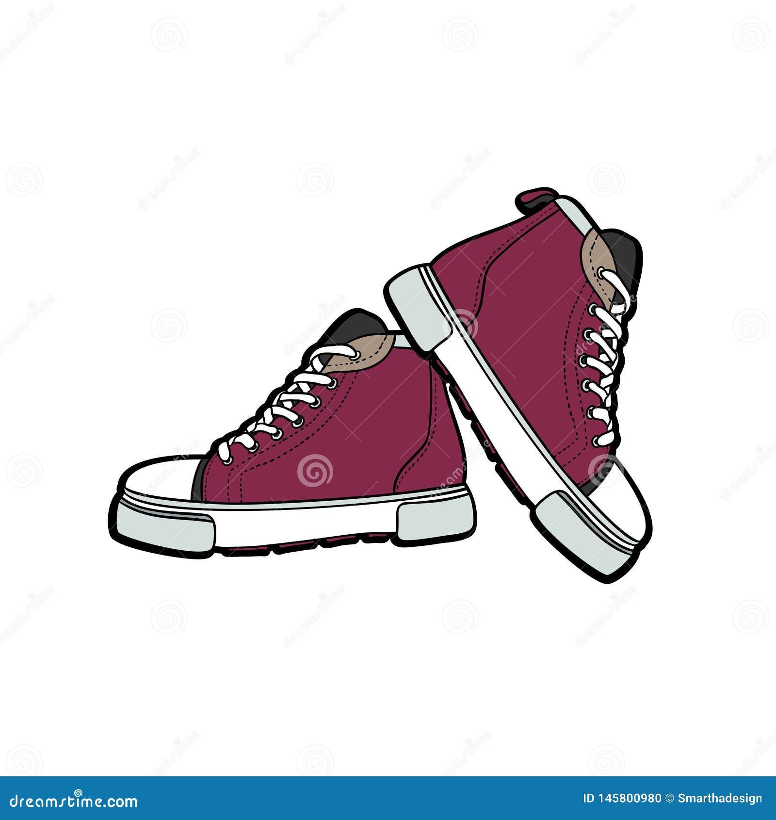 Sneakers but?w para odizolowywaj?ca R?ka rysuj?ca wektorowa ilustracja purpurowi buty Sport?w buty wr?czaj? patroszonego dla logo