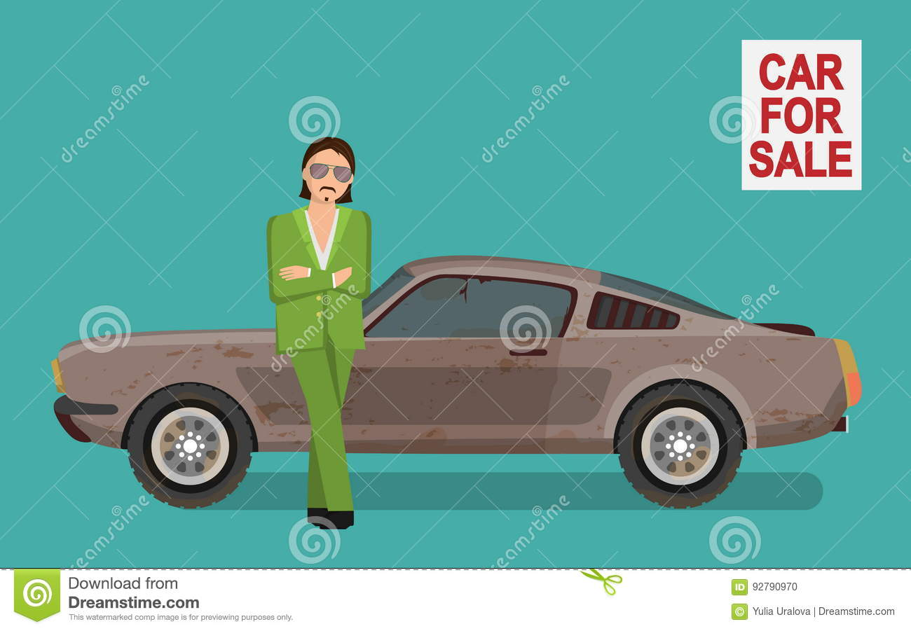 Sneaky Tough Guy Selling Old Used Car On Car Sale Market. Stock ...