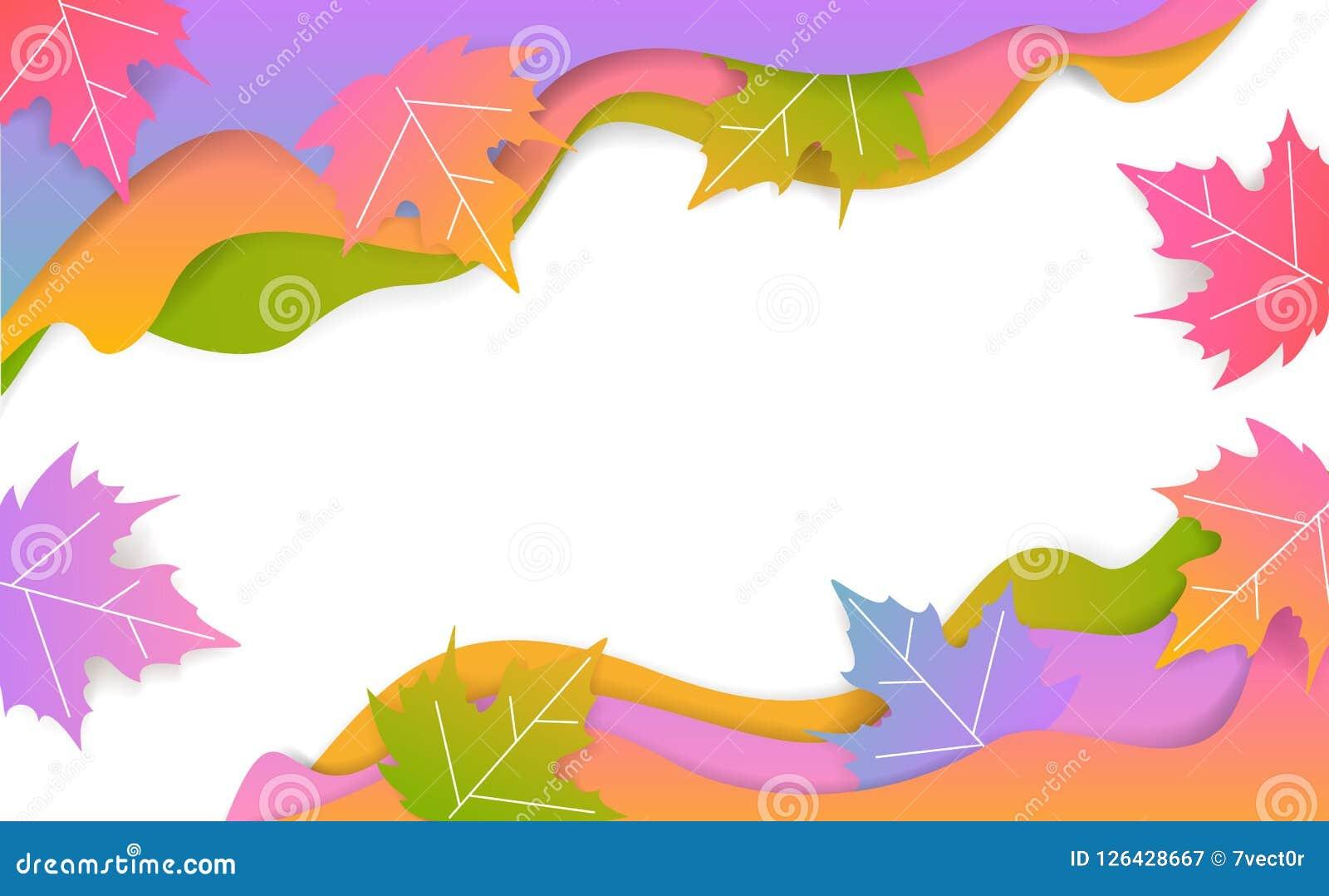Sneed het seizoengebonden golvende document van de dalingsdankzegging stijlbanner met gradiënt gekleurde esdoornbladeren