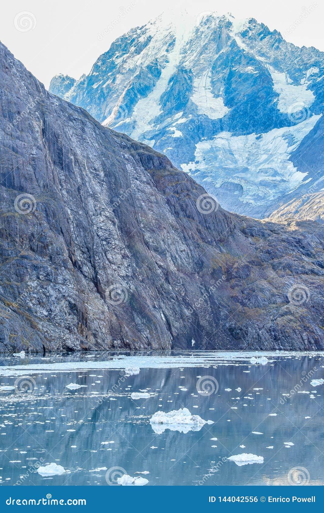 Sneeuw afgedekte berg in Gletsjerbaai, Alaska