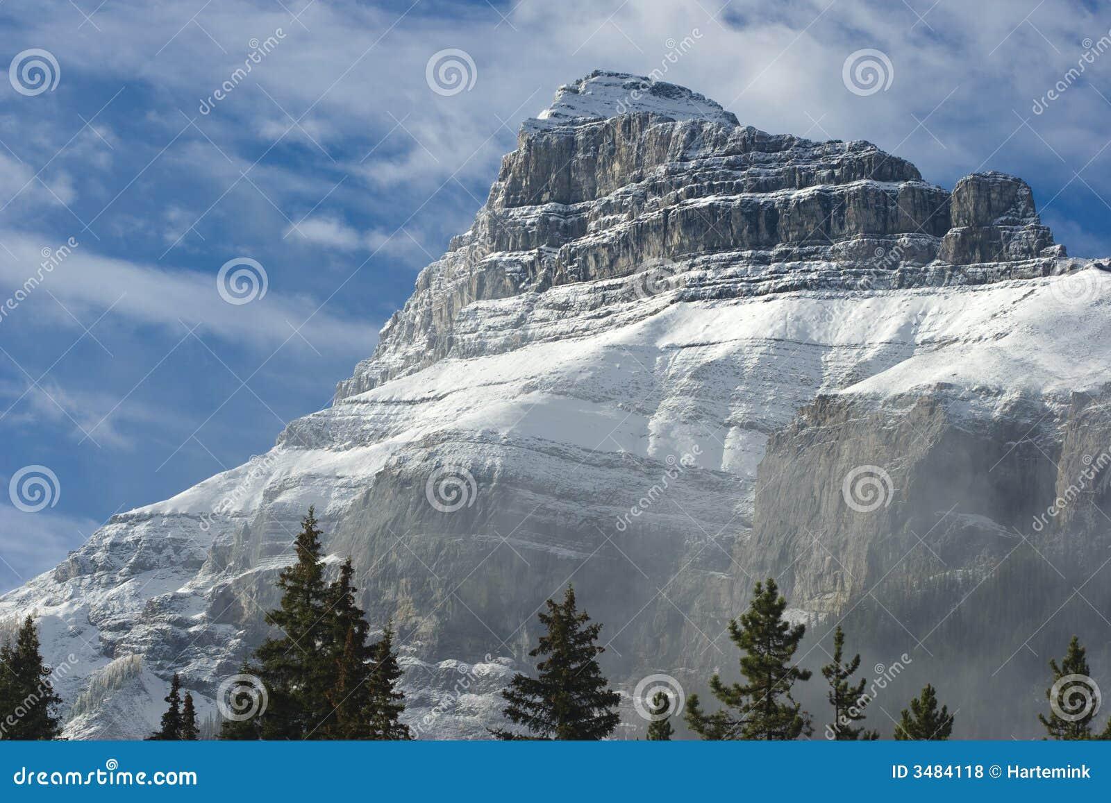 Sneeuw behandelde bergpiek