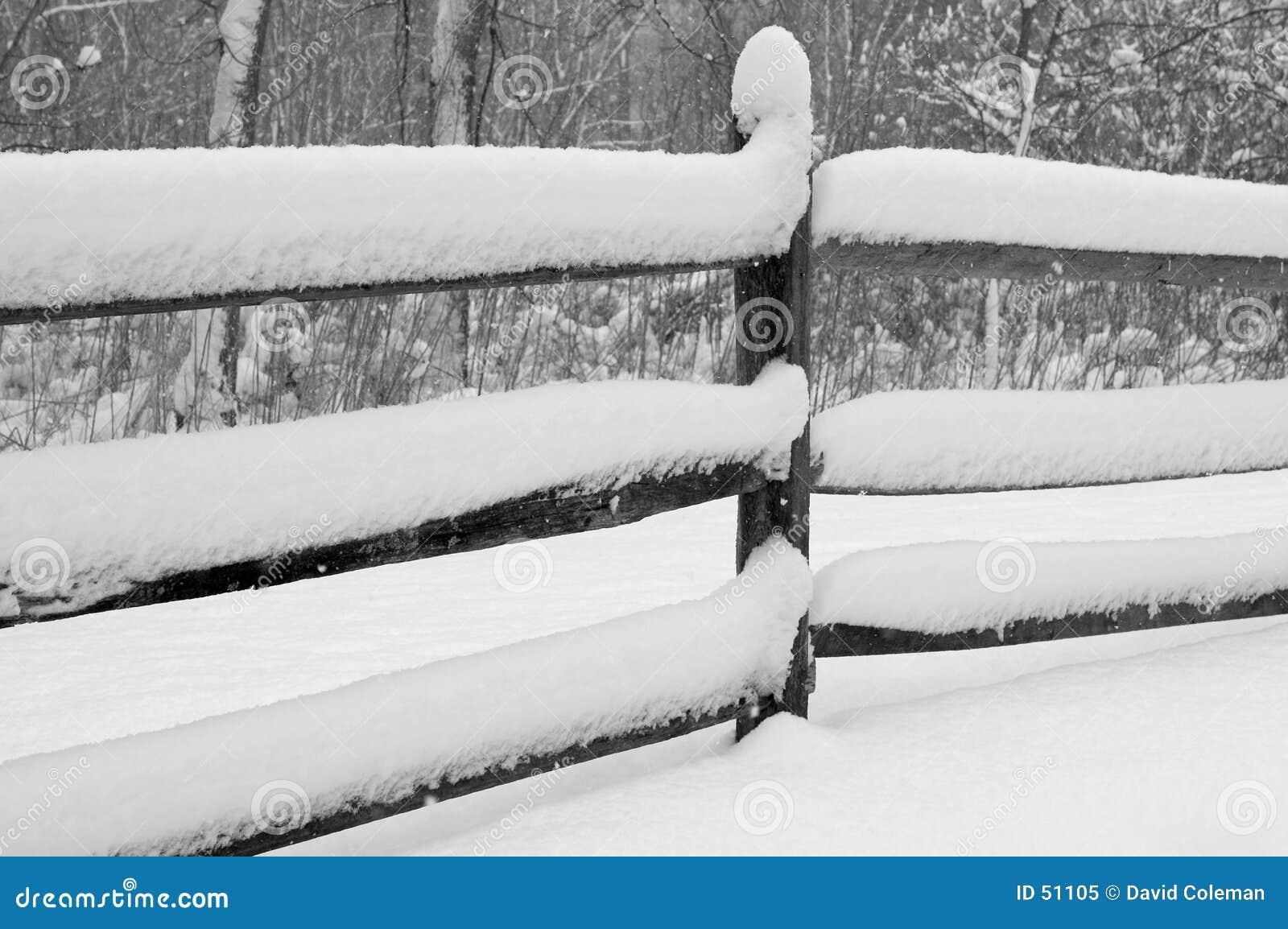 Sneeuw Behandelde Omheining